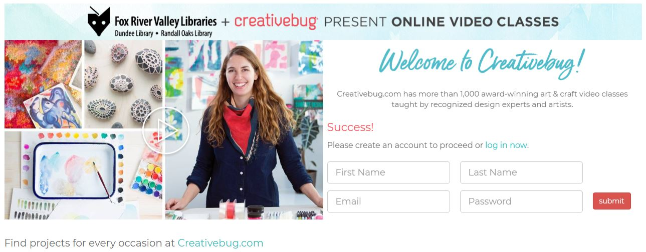 Creativebug account creation screen