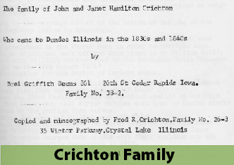 Photo of page from book about Dundee, IL settlers John and Janet Crichton