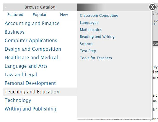 Subject list from Gale Courses catalog