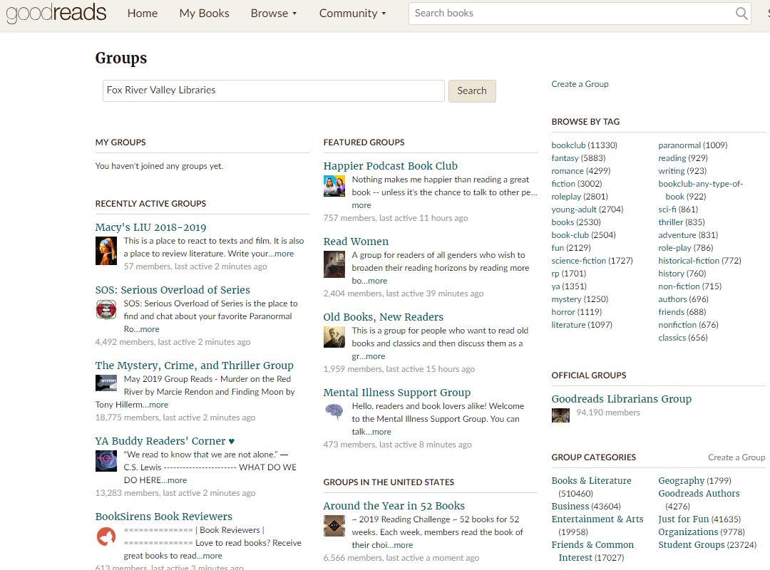 Goodreads groups page