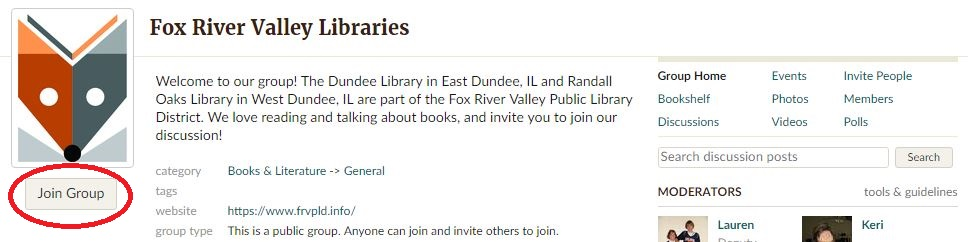 Fox River Valley Libraries group page on Goodreads