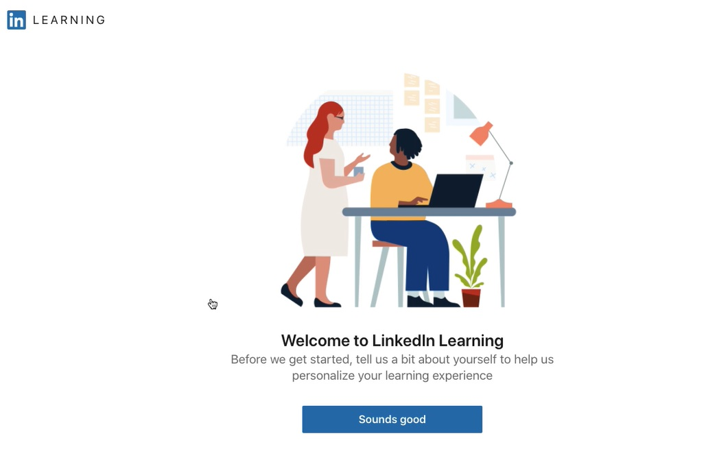 Welcome to LinkedIn Learning screen