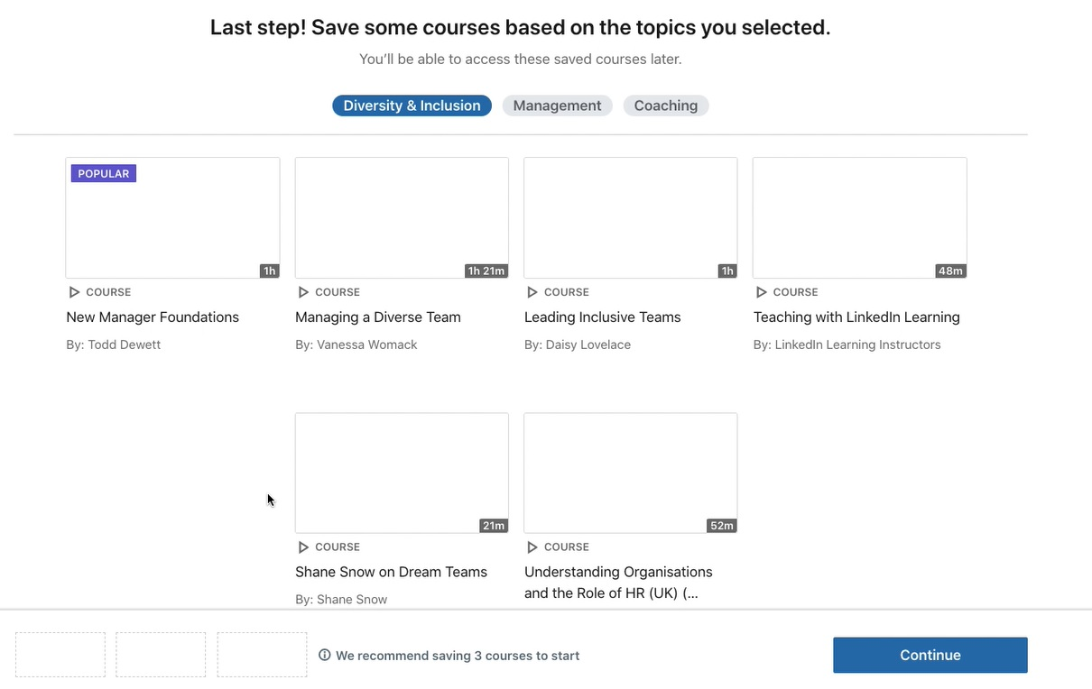 Save courses screen from LinkedIn Learning