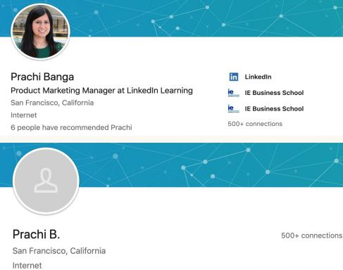 Screenshot of LinkedIn profile page