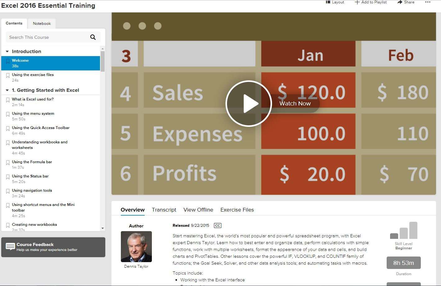 Excel 2016 course page on Lynda.com