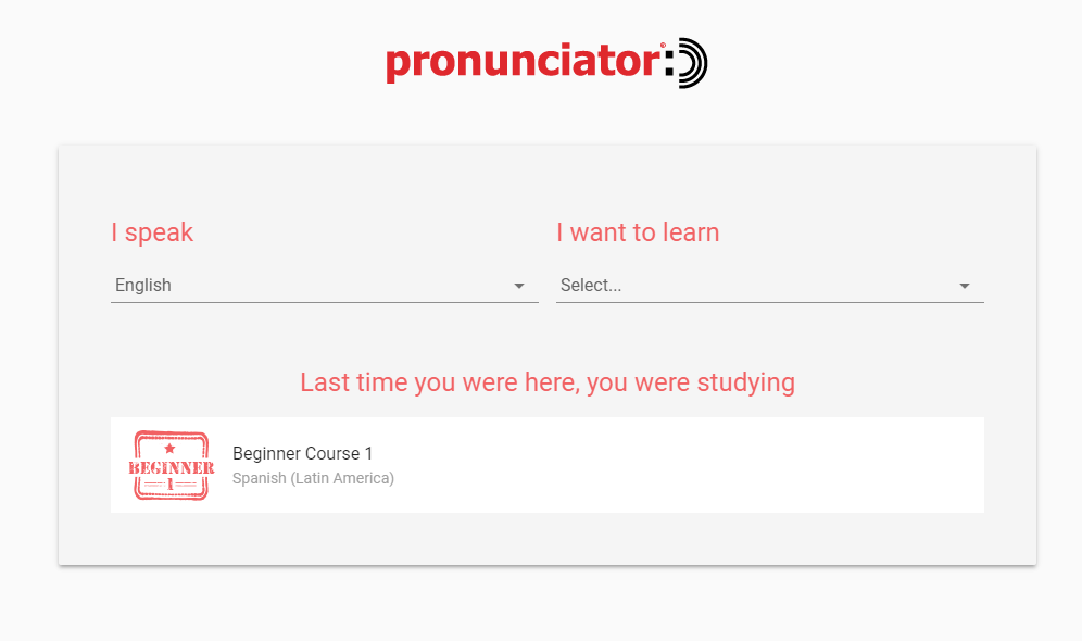 Choose a language screen in Pronunciator