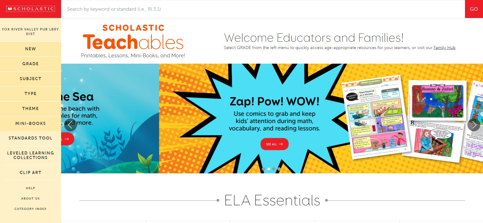 Screenshot of Scholastic Teachables homepage