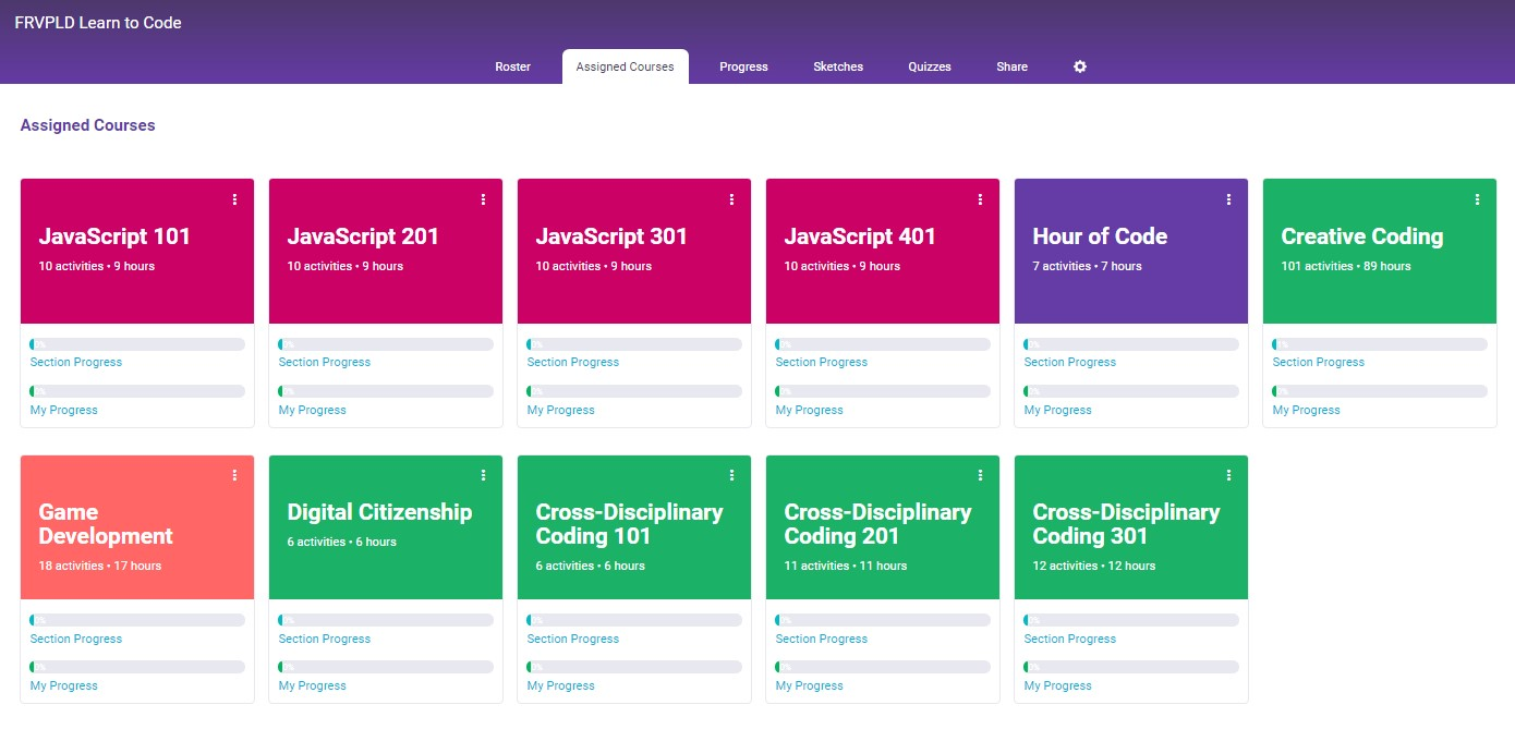 Screenshot of courses available on Vidcode website