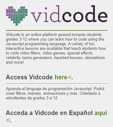Vidcode description on the library's Research page